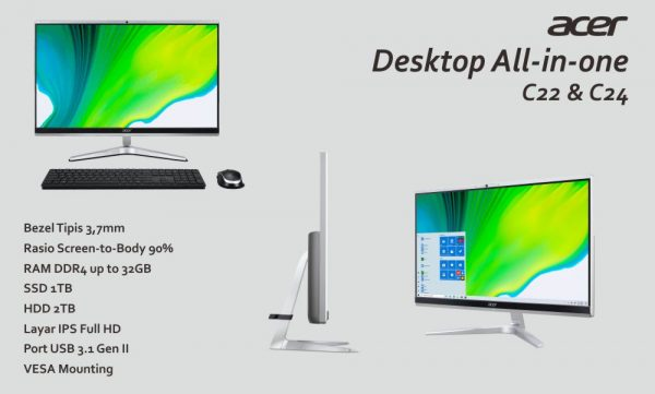 Desktop all-in-one Aspire C22 dan Aspire C24