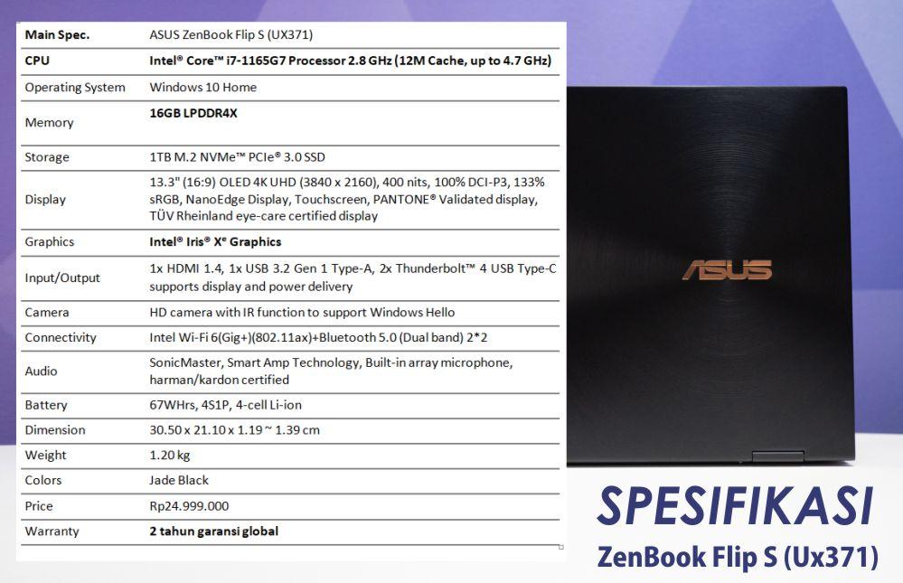 spesifikasi ZenBook Flip S (UX371)